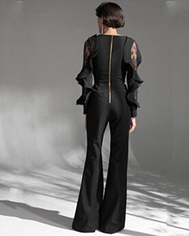 Robe De Soirée Noir Modeste Manche Longue Combinaison Longue Mousseline Belle À Volants