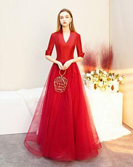 A Lijn Avondjurken Rode Tule Lange Satijnen Mooie Jurken Voor Bruiloft Gast