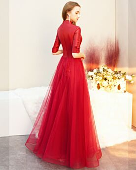 Lange Perlen V Ausschnitt Satin Modest Halbe Ärmel Elegante 2020 Abendkleider