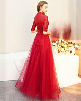 Vestidos Para Ir A Una Boda Con Media Manga Modestos Con Tul Vestidos De Noche Rojos Largos Elegantes