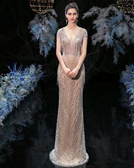 Vestidos De Noche Color Champagne Escote V Pronunciado De Flecos Largos Purpurina Lentejuelas 2020 Brillantes