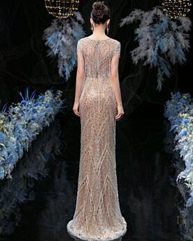 Champagne Lungo Vestiti Gala Con Frange Glitter Abito Da Sera Vestiti Da Cerimonia Bellissimi 2020 Con Perline Scollato