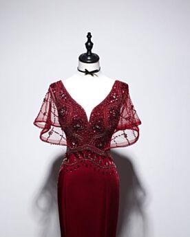 A Sirena Vestito Da Sera Eleganti Con Schiena Scoperta Da Fidanzamento Con Perline Bordeaux Lungo Maniche Corte