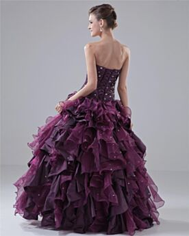 Prom Dress Gorgeous Long Taffeta Beading Quinceanera Dresses Open Back Strapless Pleated Sleeveless