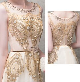 Gold Sparkly Evening Dress Gorgeous Glitter Tulle Prom Dress Beaded Sleeveless Engagement Dress Empire