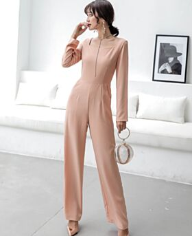 Straight Simple Blushing Pink Office Scoop Neck Chiffon Maxi Jumpsuits Casual Wear