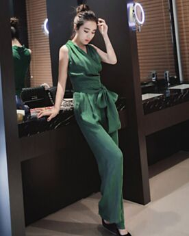 Wrap Pantalones Anchos Verde Esmeralda Sencillos Sin Manga Monos Mujer Largos Vestido Para Oficina