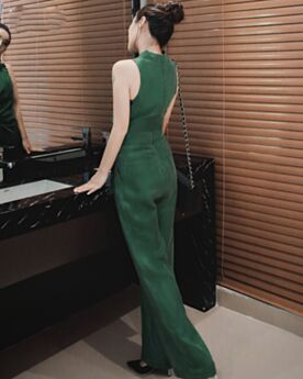 Long Emerald Green Jumpsuits Wrap Wide Leg Pants Simple