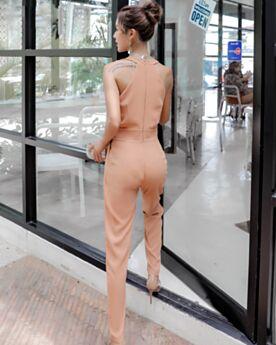深 v ネック ベージュ ボヘミアン ノースリーブ ラップ ドレス パンツ ドレス ペンシルパンツ 66420190114