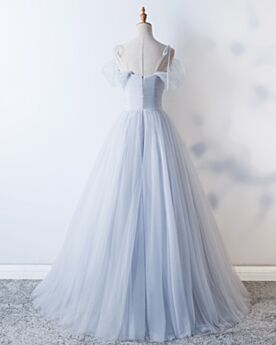 Low Cut Spaghetti Strap Vintage Pleated Simple Tulle Ball Gowns Prom Dress
