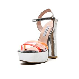 Sandals Sexy Silver Evening Shoes Going Out Shoes Block Heel Supper High Heel With Ankle Strap Chunky Heel