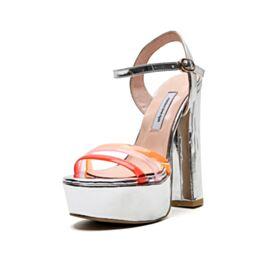 Tacon Alto Polipiel Plateados Sandalias Zapatos De Fiesta Tacon Grueso Sexys