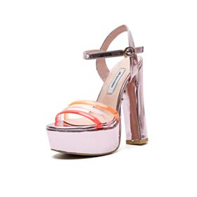 Evening Shoes Over 5 inch High Heeled Pink Sandals Sexy Thick Heel Patent Block Heels