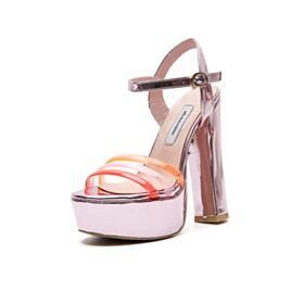 Sandaletten High Heels Blockabsatz Kunstleder Abendschuhe Knöchelriemen Rosa Chunky Heel