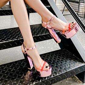 Ecopelle Tacco Largo Tacco Alto Sandali Donna Cinturino Alla Caviglia Scarpe Cerimonia Estivi Rosa Confetto Sensuali Vernice