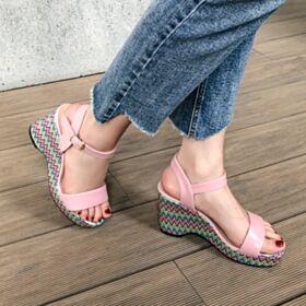Mit 6 cm Absatz Leder Sandaletten Keilabsatz Lyserosa Riemchensandaletten Druck Comfort