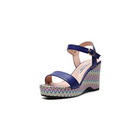 Wedges Strappy Leather Mid Heel Women Shoes Comfort Fashion Womens Sandals Printed