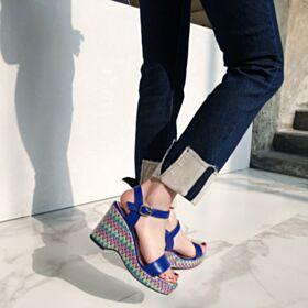 De Piel Sandalias Cuña Modernos Vestidos Estampados 6 cm Tacones