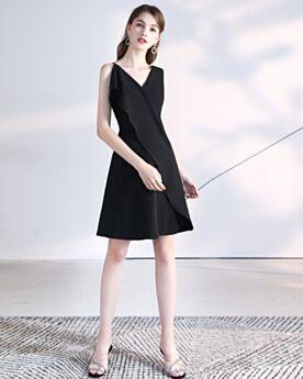 LBD Corto Negros Vestidos Semi Formales Con Volantes Sencillos Escote V
