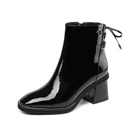 Ankle Boots Chunky Heel Round Toe Comfortable Black Office Shoes Patent 6 cm Mid Heels Lace Up Shoes Leather