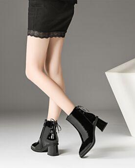 Leren Lak Comfort Blokhakken Enkellaarsjes Chelsea Boots 6 cm Heel