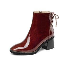 De Pelo Cordones Modernos Chelsea Boots Botines Mujer Tacon Ancho Burdeos 6 cm Tacon De Charol Trabajo De Piel