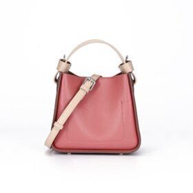 String Crossbody Full Grain Bucket Bag Watermelon Modern Shoulder Bag Leather Purse For Women Small