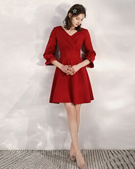 Long Sleeves Satin Short Party Dress For Wedding Burgundy Fit And Flare Simple
