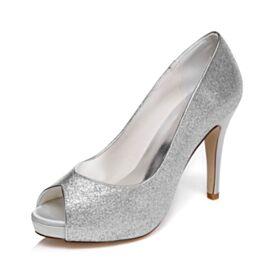 Chaussure De Bal Talons Aiguilles Chaussure Mariage Peep Toes Scintillante 10 cm Talon Haut Argenté Escarpins Femmes
