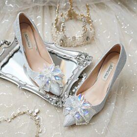 Mit Schleife BallSchuhe Glitzer Silber Spitz Zeh Hochzeitsschuhe Luxus Pumps Glitzernden Stilettos