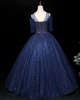 Sequin Quinceanera Dresses Prom Dress Sweet 16 Dress Half Sleeve 3D Flower Navy Blue Sparkly