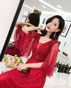 Formal Dresses A Line Red Cute Sequin Gorgeous Prom Dress