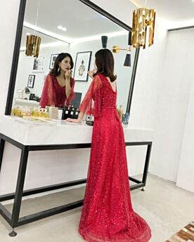 Belle Robes De Bal Robes De Soirée Rouge Sequin Princesse Luxe Demi Manche