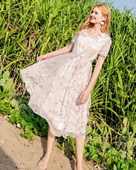 Strandkleidung Rundhalsausschnitt Prinzessin Bohemian Kleider Casual Kleid Midi Swing Chiffon