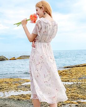 Scoop Neck Day Dresses Chiffon Beachwear Spring Dress