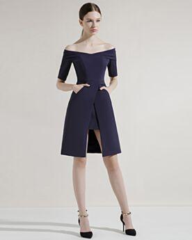 Vestidos Para Ir De Boda Dividido Peplum Cortos Hombros Caidos Satin Sencillos Vestidos Semi Formales Azul Marino