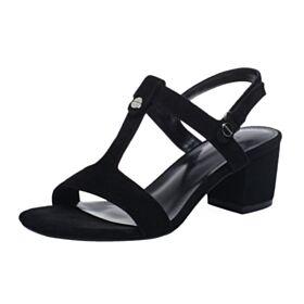 À Bride Noir Nu Pied  5 cm Talons Talon Carrés Suède Chaussure Confort