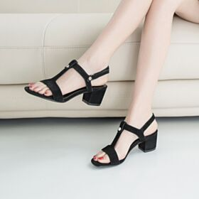 Comfortable Suede Block Heels Shoes For Women Sandals Black Thick Heel 5 cm Kitten Heels Fashion