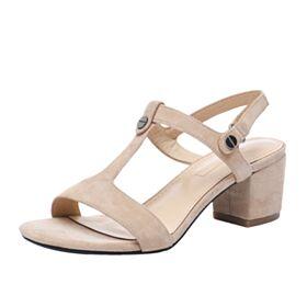 Moda Sandali Donna Con Lacci Casual Camoscio Tacco Medio Tacco Largo