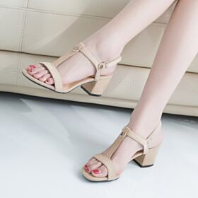 5 cm / 2 inch Kitten Heel Comfortable Nude Fashion Strappy Suede Sandals