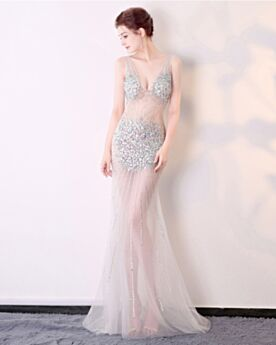 Evening Dress Crystal Sexy Long Silver 2019 Plunge Sequin Party Gowns Club Dresses Sparkly Red Carpet Dresses