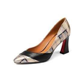 Red Bottoms Black Printed Pumps Office Shoes Leather 3 inch High Heel Chunky Heel