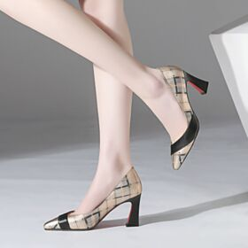Estampados Oficina Tacon Ancho Negros De Charol De Piel Suela Roja Zapatos Mujer Tacon Alto 8 cm
