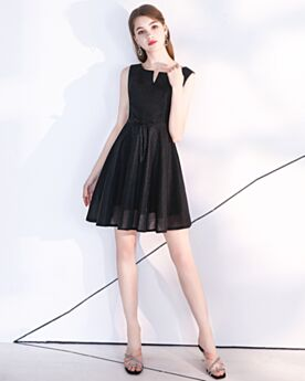 Semi Formal Dresses Short Tulle Simple Party Dress Open Back Little Black Dress