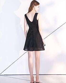 Organza Schlichte Rückenfreies Kurze Festliche Kleider