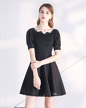 Évasée Simple Robe Cocktail Organza Noir