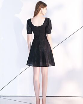 Schiena Scoperta Little Black Dress Semplici Organza Maniche Corte Abiti Cerimonia