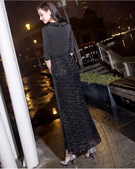 Black Sequin Cocktail Dress Modest Semi Formal Dress Sheath With Belt Half Sleeve Ankle Length
