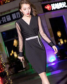 Long Sleeve Cocktail Dress Sheath Knee Length 2019 Black