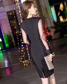 Vestidos Semi Formales Vestidos Cocktail Elegantes Negro A La Rodilla Manga Larga